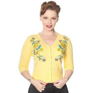Vêtements et accessoires Banned Young Love Noir Swallow Nautique Cardigan Vintage Rockabilly Taille Plus Cardigan femme