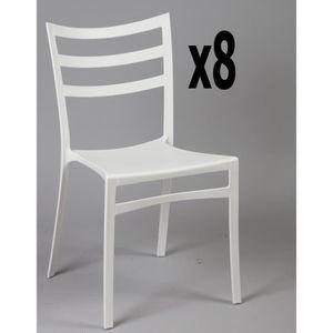 CHAISE Lot de 8 chaises en polypropylène de couleur blanc