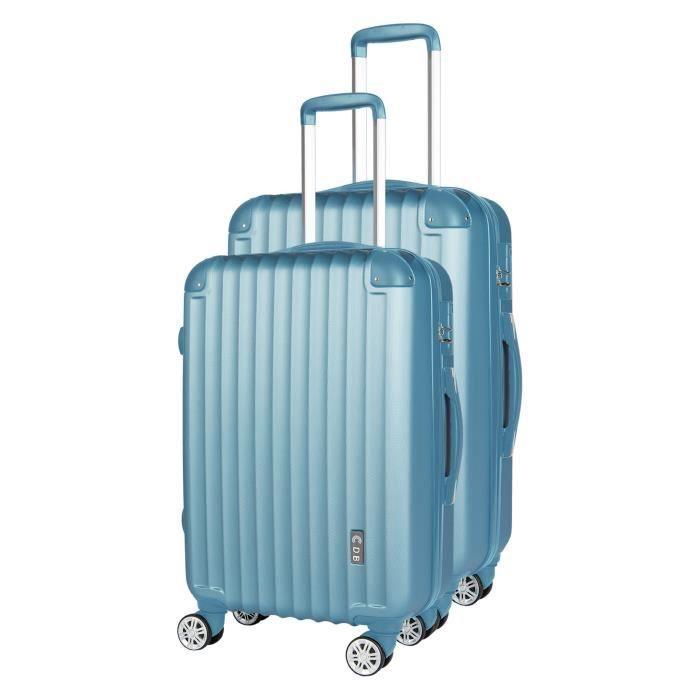 CDB Set de 2 Valises Chariots Rigides ABS Pastel 8 Roues 48-69cm Bleu