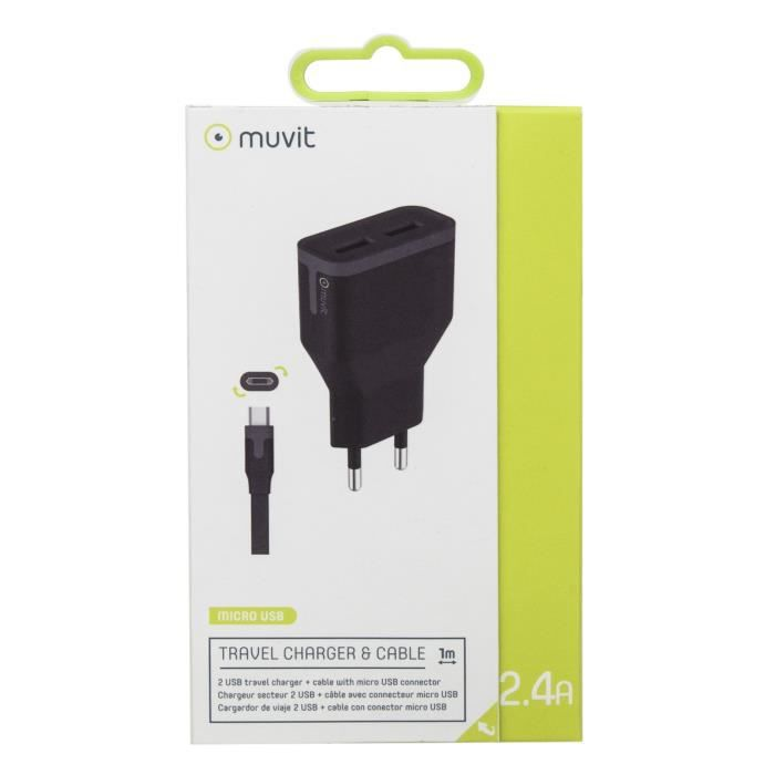 MUVIT TAB Pack Chargeur SECTEUR 2USB 2.4A+MICRO USB REVERSIBLE Noir