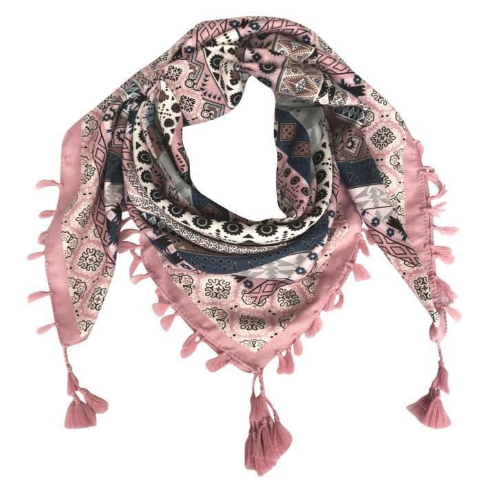 fe4fb379c15b Foulard femme carré écharpe soie 105x105cm GOGOU XY2017-004 cotton ethnique  gland poudre