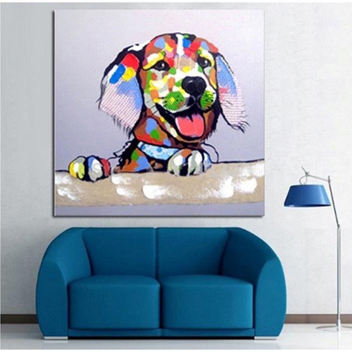 peinture huile toile fait main le chien color achat vente tableau toile cdiscount. Black Bedroom Furniture Sets. Home Design Ideas