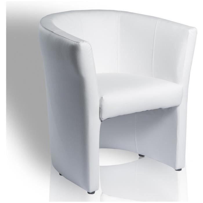 fauteuil cabriolet simili cuir blanc achat vente fauteuil blanc soldes d s le 27 juin. Black Bedroom Furniture Sets. Home Design Ideas