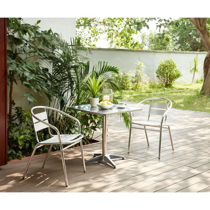 BASTIA Ensemble bistrot carrée en acier et MDF + 2 fauteuils en aluminium -  70 x 70 x 70 cm