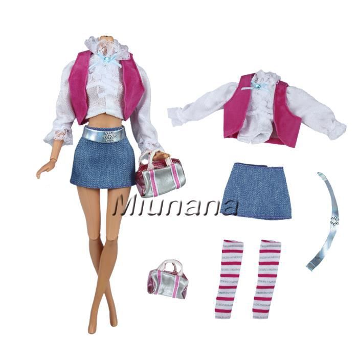 c2c69370ed9b69 Miunana Jupe Courte Pour Barbie + 1 Paires Chaussures Pour Barbie de ...