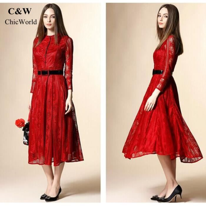 Nouvelle arrivee brodé évider la conception femmes robe longue simple boutonnage européen robe en dentelle la mode robe rouge