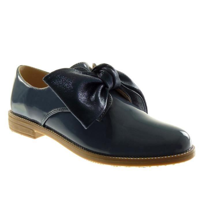 88f9857e6b8bcf Angkorly - Chaussure Mode Derbies femme noeud verni brillant Talon bloc 2.5  CM - Bleu - YT06 T 38