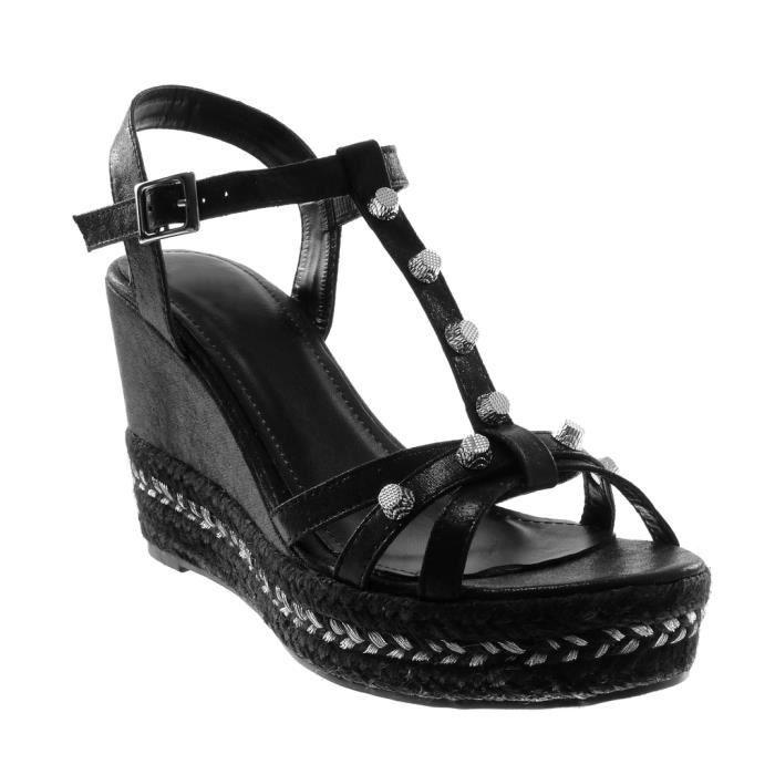 5 Lanière Femme Chaussure Corde Brillant 9 Cm Sandale Mode Clouté Compensé Plateforme Angkorly Talon Salomés Cheville qMUpVSz
