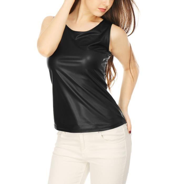 Tank Neck U Top Women's Fit 3qg28n 46 Metallic Taille Stretchy Slim xFqBSnWq6