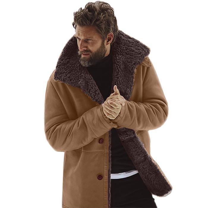 peau homme pour hiver doubl en Veste de mouton Chaud montagne SUzMVp