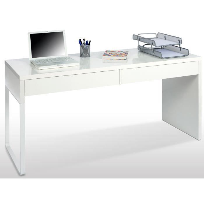 Bureau réversible en bois coloris blanc brillant avec 2 tiroirs - Dim : L 138 x H 75 x P 50 cm