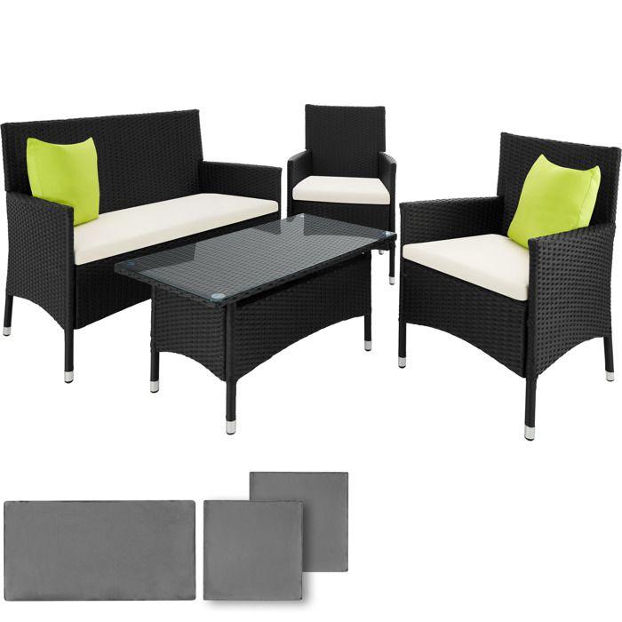Salon de jardin BARCELONE - 2 Fauteuils, 1 Canapé, 1 Table en Résine ...