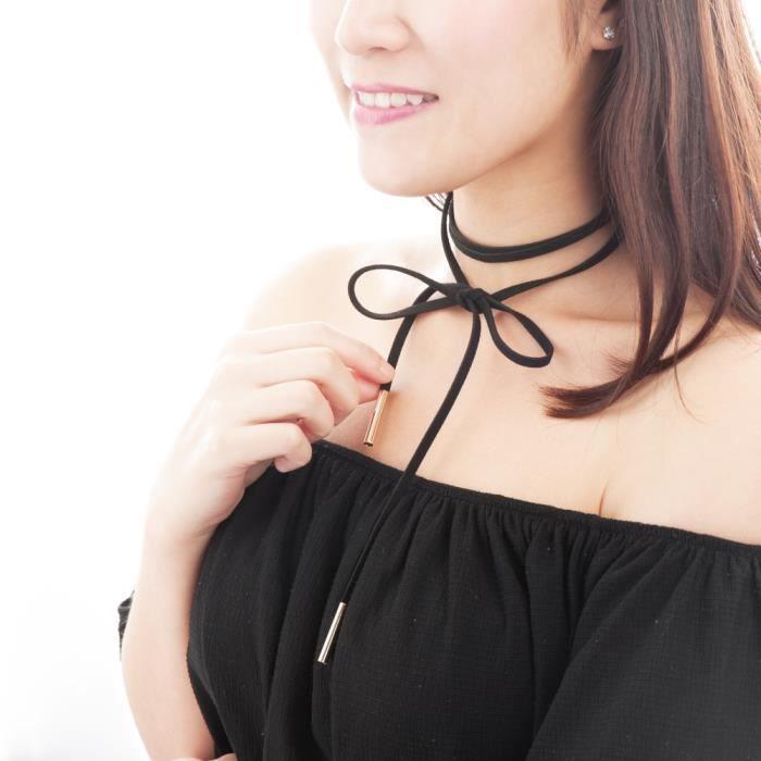 clair et distinctif pas cher france pas cher vente Zodaca® Collier Cordon Lacets Vintage Noeud Pour Femme Fille Élégante Mode  Fashion, Noir/Gold