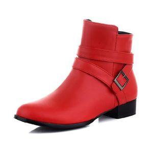 ... BOTTINE Chaussure Femmes Bottines Zippées A Plate En Simil ...