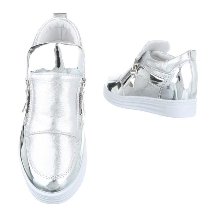 Femme chaussures loisirs chaussures Sneaker argent 39