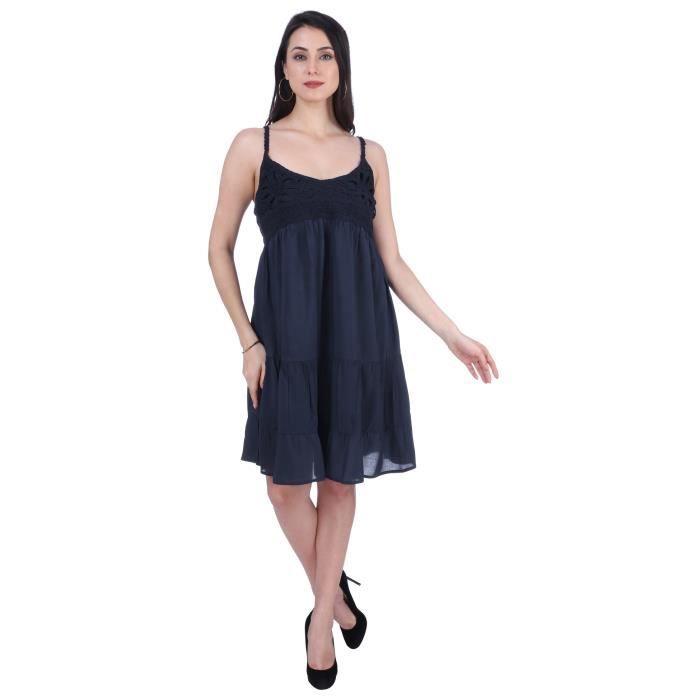 Viscose robe de longueur au genou féminin Pour -navy Bleu 1DNAEO Taille-32