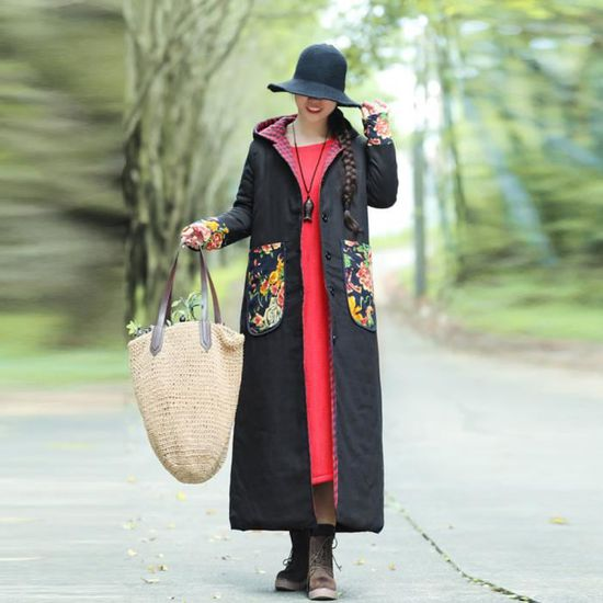De Caps En Femmes Veste Noir Impression Longue Vrac Facile Rembourré Plus Taille Manteau D'hiver Coton Sgy81023484bk wq78raqXx
