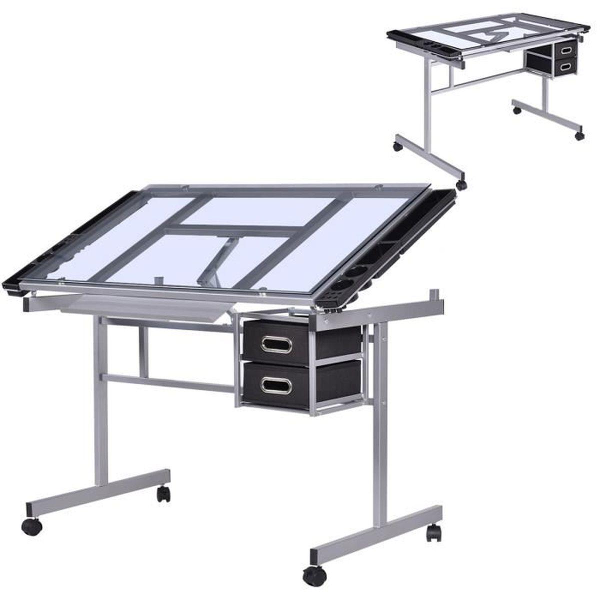 Table dessin inclinable table bureau d architecte table en verre roulette - Bureau d architecte ikea ...