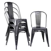 Lot de 4 chaises style industriel, salle à manger, en métal