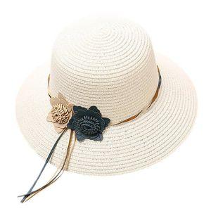 CHAPEAU - BOB Fleurs tissées pour dames, chapeau de paille, visi 5ea31790330