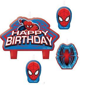 BOUGIE ANNIVERSAIRE Lot de 4 Bougies Spiderman Marvel - Décoration Gat