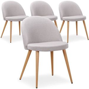 CHAISE Lot de 4 chaises scandinaves Maury tissu Gris
