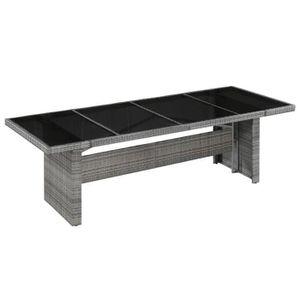 Table jardin tressee verre - Achat / Vente pas cher