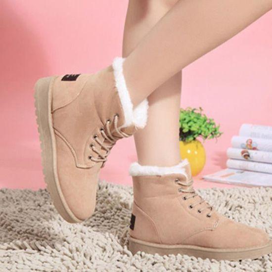 Hiver Femmes Plat Up Chaud Neige Fourrure Mode Bottes Doublé Lace beige Chaussures Cheville fxa8dgq