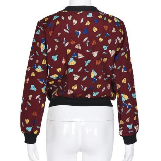 Vrac Rouge Fleurs Zipper Veste De En À Outwear Costume Longues Manteau Manches Blazer Les Femmes wpqYxf