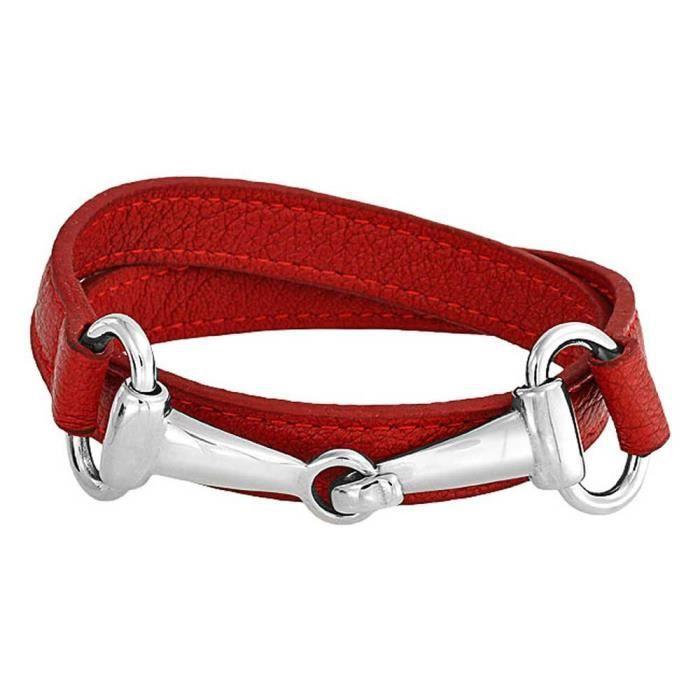 Womens Red Leather Horses Bit Equestrian Wrap Bracelet Steel FDXJB