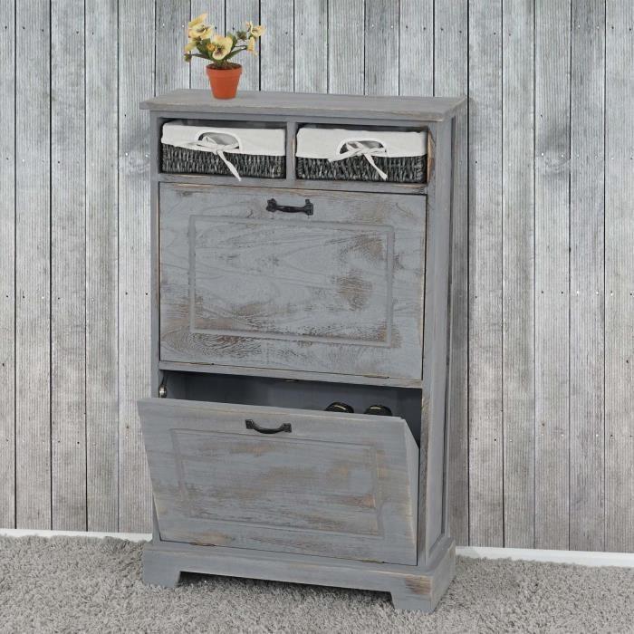 meuble chaussures meuble d 39 entr e gris vieilli achat. Black Bedroom Furniture Sets. Home Design Ideas