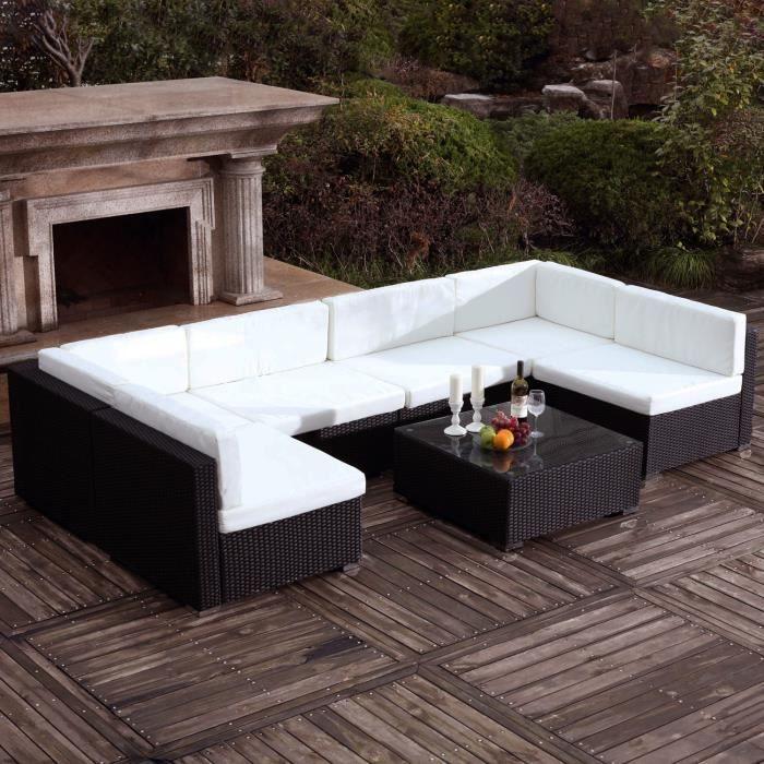 Bahru Noir-Blanc : grand salon de jardin en résine tressée 6 ...