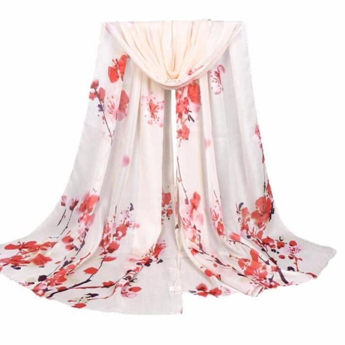 b9c8bad7608 Foulard blanc cassé fleurs rouges Beige - Achat   Vente echarpe ...