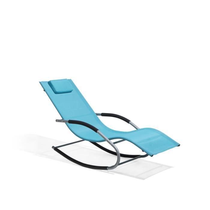 Transat de jardin à bascule bleue Carano - Achat / Vente chaise ...