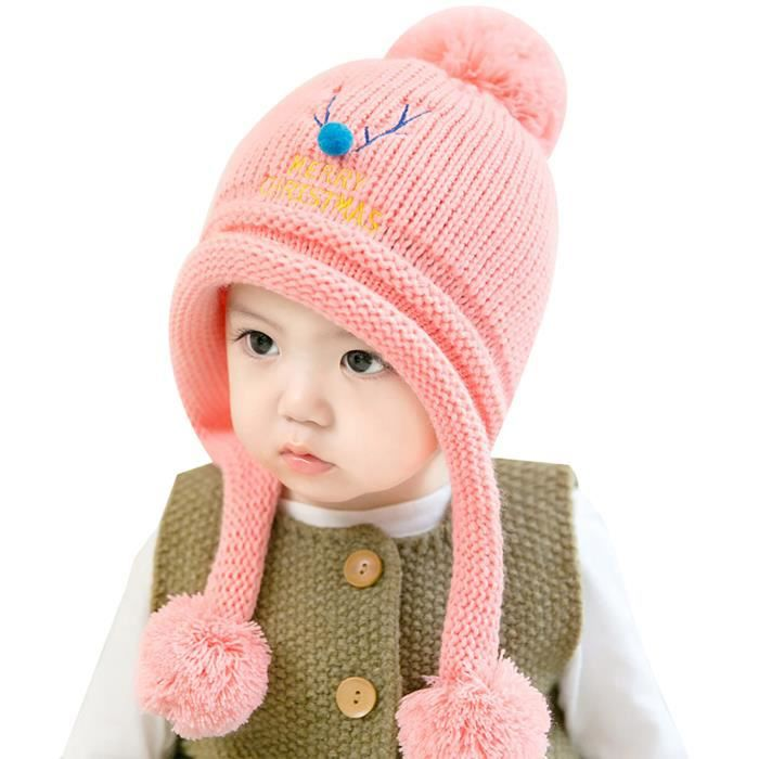 9725cfea7e5b Bonnet Laine Tricoté Bébé Fille Garçon Chapeau à Pompons Hiver Automne  Merry Christmas Tour de Tête 46-50cm pour 6-24 mois Rose