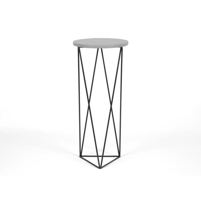 Sellette avec plateau en bois et piètement triangle en métal D33 cm ...
