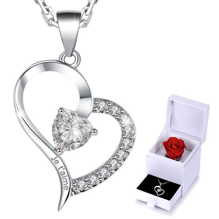 Cadeau T'aimeCoeur Saint Valentin Femme Or Collier Gravé Je Palqué XZikPu