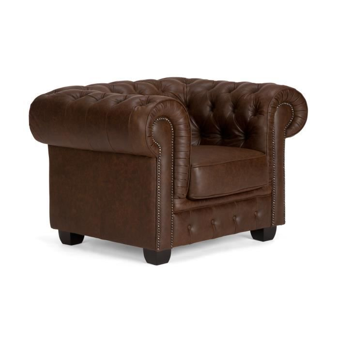 fauteuil chesterfield en cuir vintage marron massivum achat vente fauteuil marron cdiscount. Black Bedroom Furniture Sets. Home Design Ideas