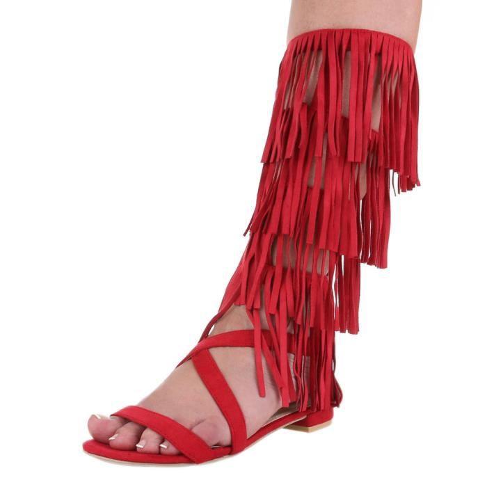 Femme sandale chaussure de Dianette Western Style effilé lanière Rouge
