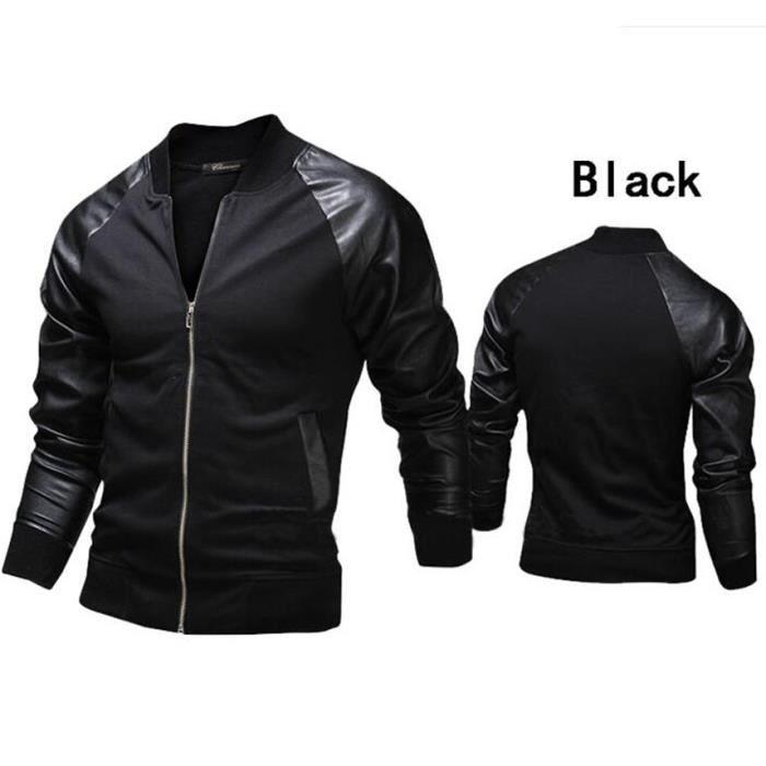 Hommes Veste Noir Cuir Mode Épissure En gris 8vWvgrE