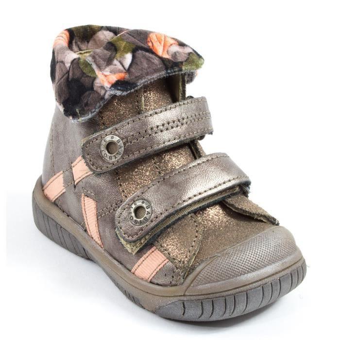 Babybotte Boots à velcro ACTEUR5 marron rose