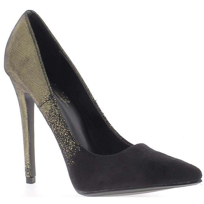 Escarpins femme noirs et dorés talon aiguille de 12 cm bicolores - Couleur:Noir Pointure:4