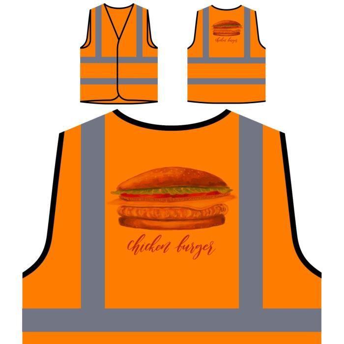 Chef Pers Haute Visibilité Le Protection Veste De j'aime Personnalisée Food Tasty À Burger Poulet Orange 4fYXn6nwP
