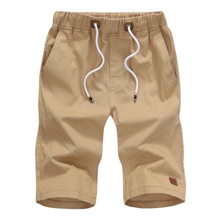 Unie Homme De Bermuda Élastique Léger Short Taille Casual Couleur Serrage Corde Été 8nvmO0wN