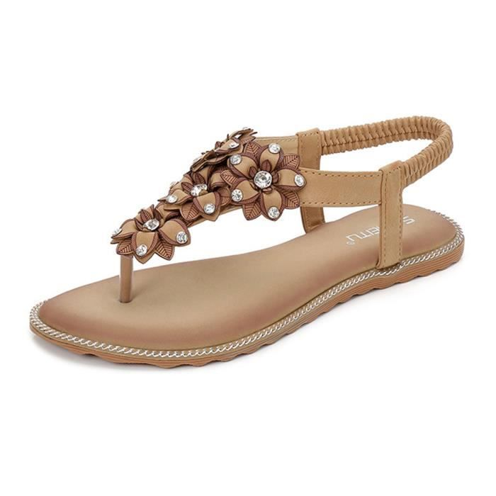 Chaussures Vacances Plat Femme Strass Pantoufles Peep Bohême Fille De Abricot Antidérapant Toe Flip Minetom noir Flops Plage Sandales Été Fleurs Eqtgvww