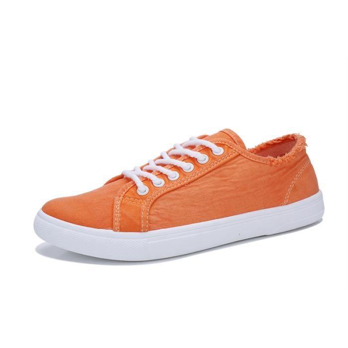Basses Achat Blanc Basse Orange Vintage Toile Chaussures 5RAL4j3