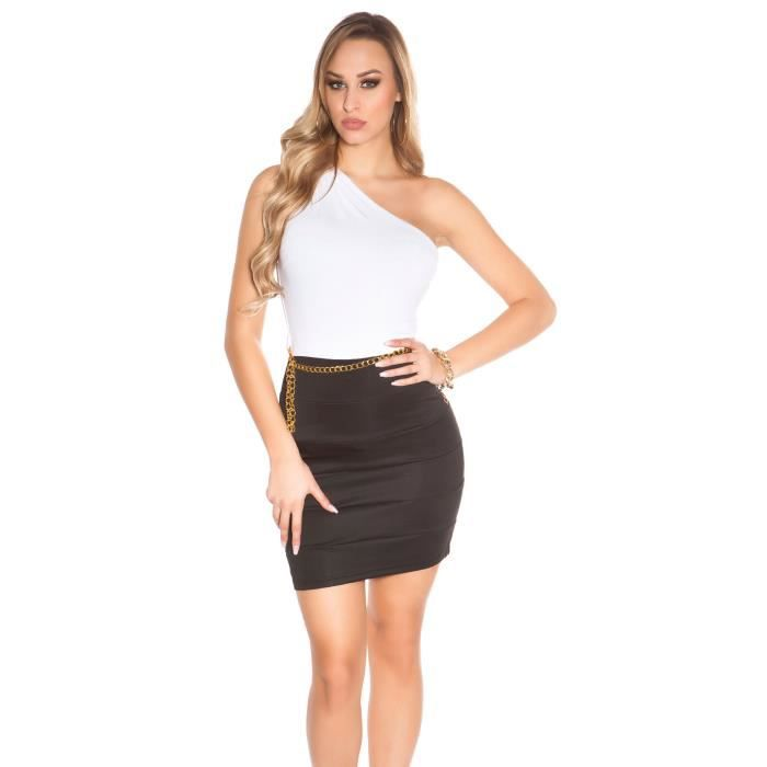 Robe moulante sexy femme soirée noir blanc Noir blanc - Achat ... fde25f76cffd
