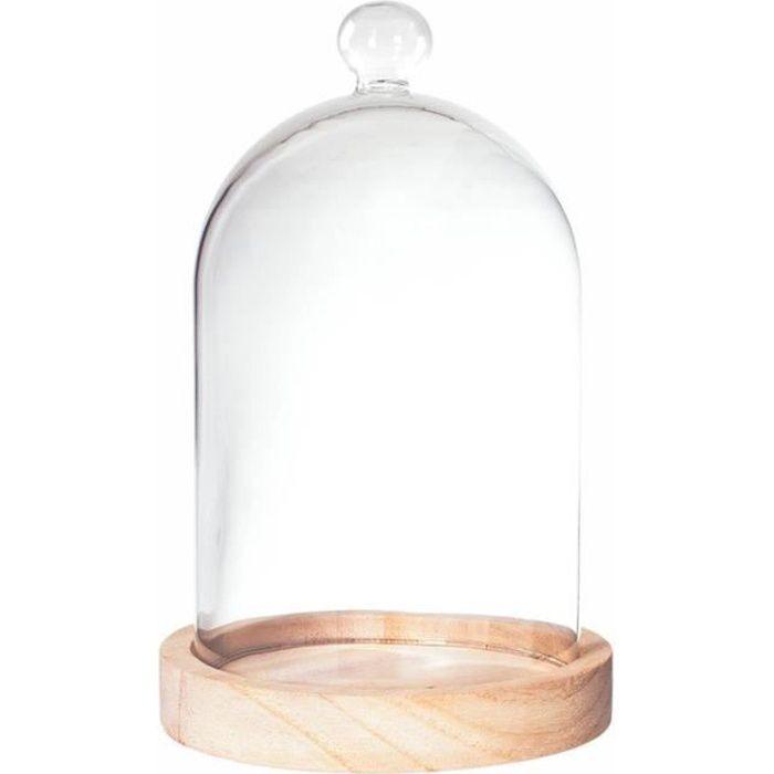 cloche en verre sur socle bois 19cm transparent achat. Black Bedroom Furniture Sets. Home Design Ideas