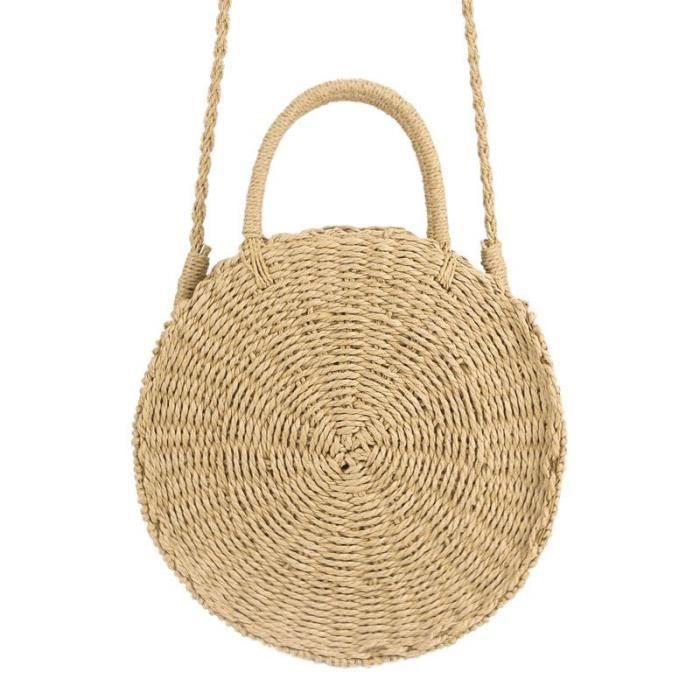 ed3a3a3b9a sac a main rond en rotin tisse a la main sac de messager vintage tricote  paille dames sac a main frais fourre-tout de plage d'ete