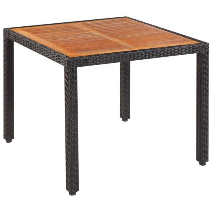 Haute qualité Table de jardin Rotin Dessus de table bois d\'acacia 90x90x75  cm